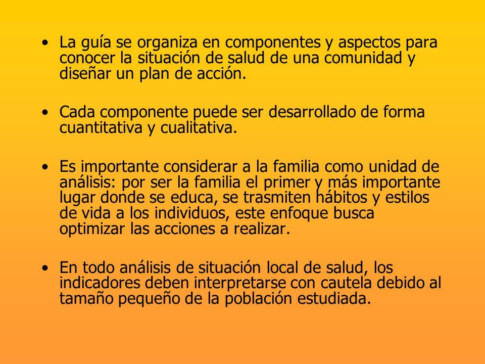 El diagnóstico de la situación de salud se obtiene al describir y realizar un análisis crítico de: los componentes sociohistóricos, culturales y sociodemográficos de la población los riesgos personales, familiares y comunitarios y sus interrelaciones la participación de la población y la intersectorialidad, como actores en el proceso