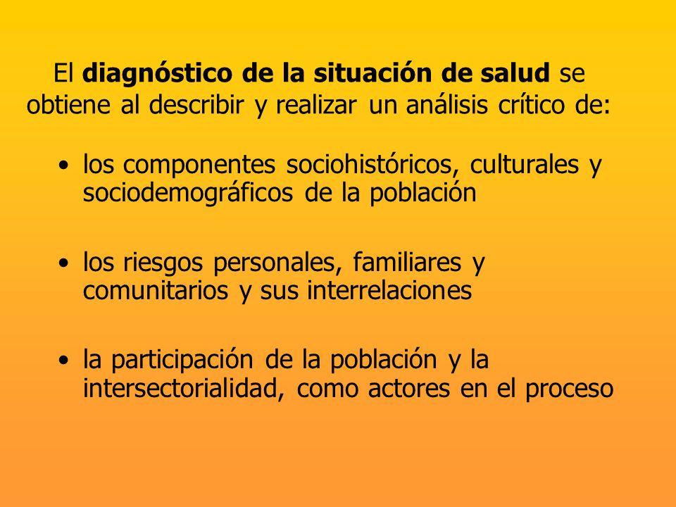 El diagnóstico de la situación de salud se obtiene al describir y realizar un análisis crítico de: los componentes sociohistóricos, culturales y socio