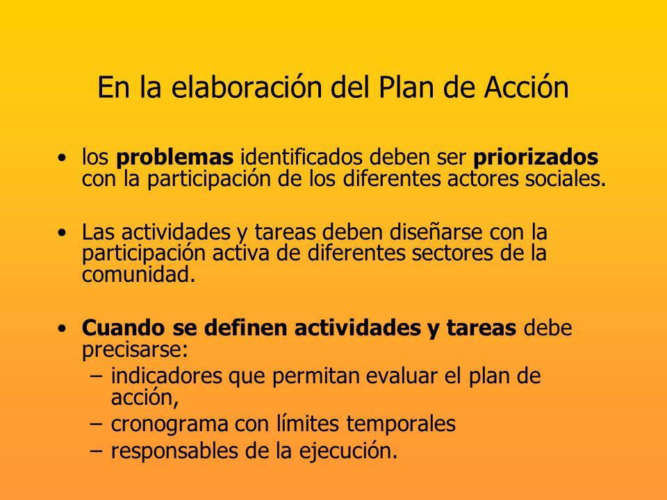 En la elaboración del Plan de Acción los problemas identificados deben ser priorizados con la participación de los diferentes actores sociales. Las ac
