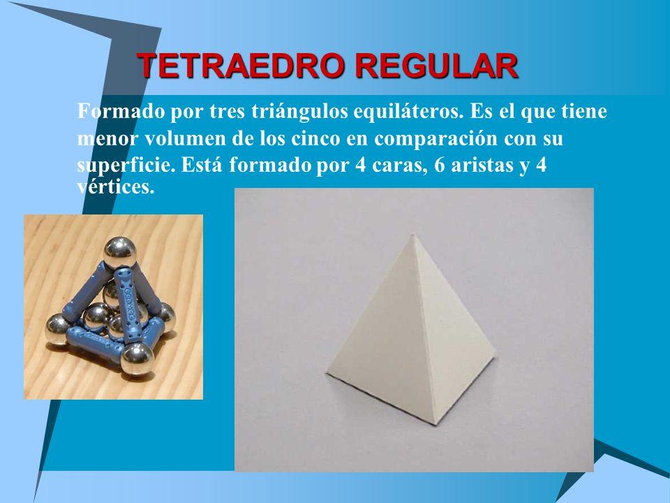 TETRAEDRO REGULAR Formado por tres triángulos equiláteros. Es el que tiene menor volumen de los cinco en comparación con su superficie. Está formado p