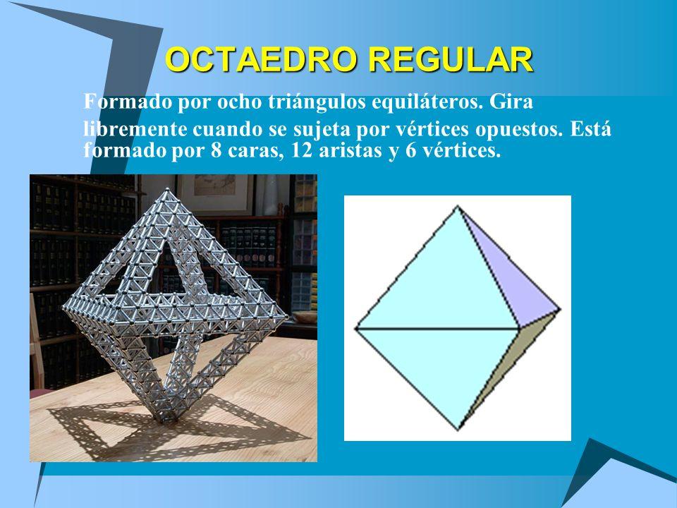 OCTAEDRO REGULAR Formado por ocho triángulos equiláteros. Gira libremente cuando se sujeta por vértices opuestos. Está formado por 8 caras, 12 aristas