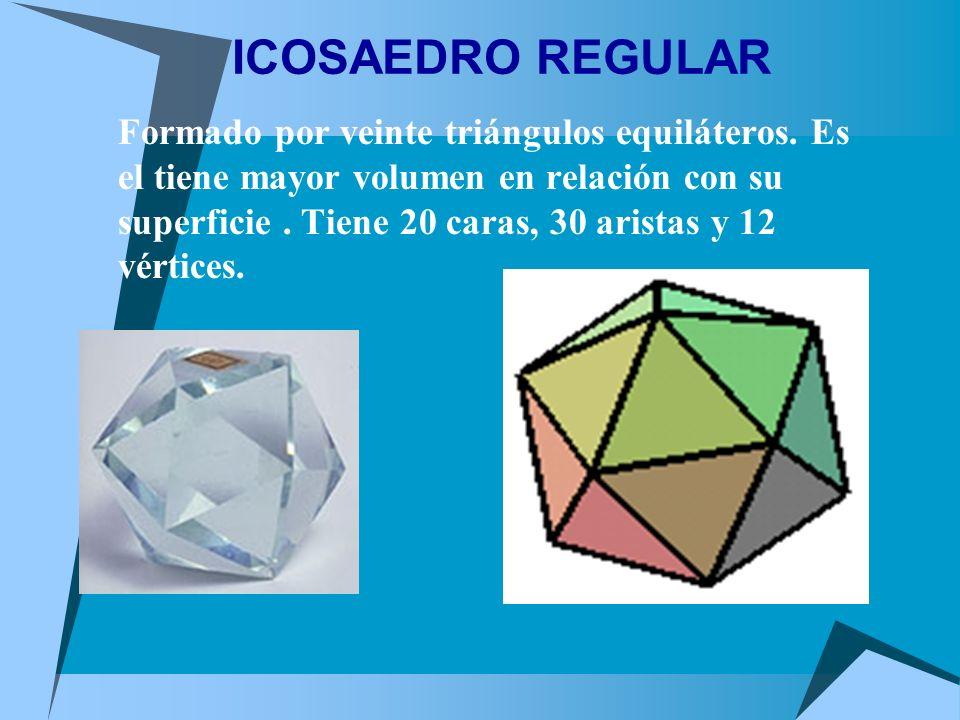 ICOSAEDRO REGULAR Formado por veinte triángulos equiláteros. Es el tiene mayor volumen en relación con su superficie. Tiene 20 caras, 30 aristas y 12