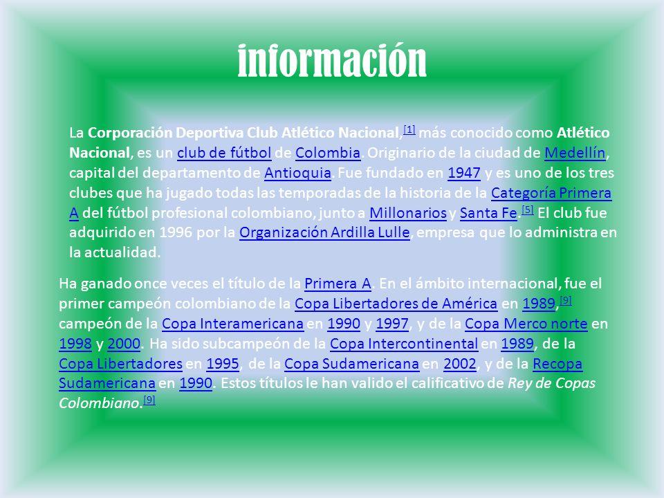 información La Corporación Deportiva Club Atlético Nacional, [1] más conocido como Atlético Nacional, es un club de fútbol de Colombia. Originario de