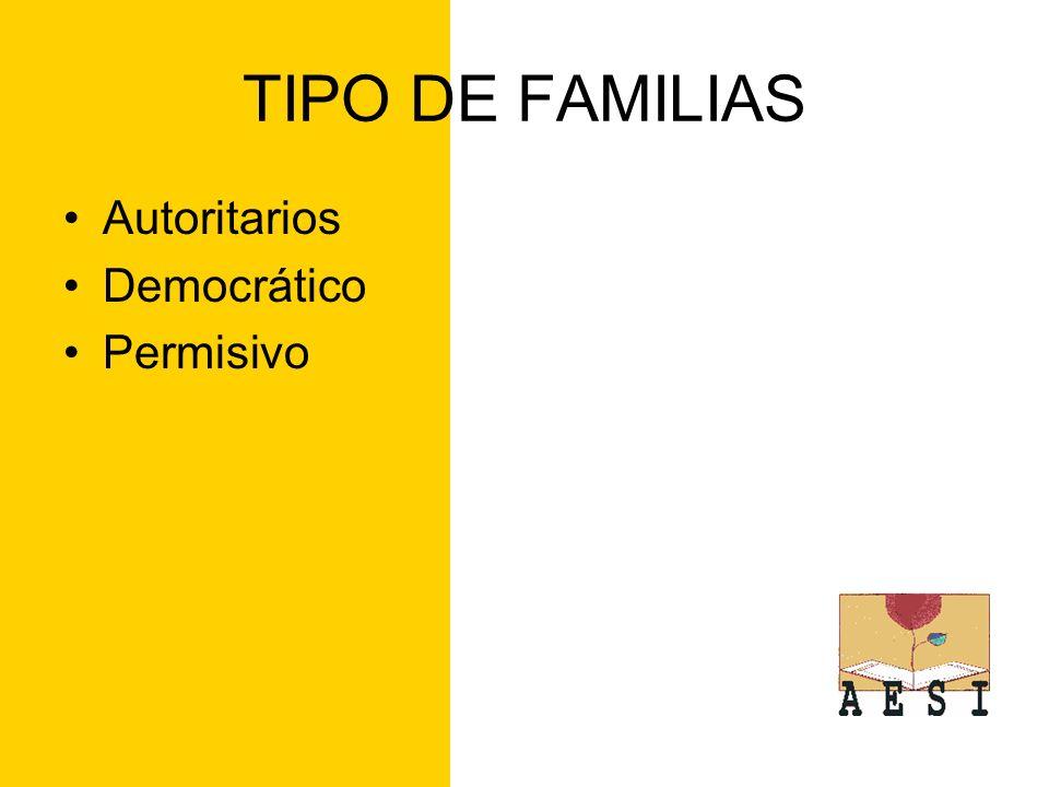 TIPO DE FAMILIAS Autoritarios Democrático Permisivo
