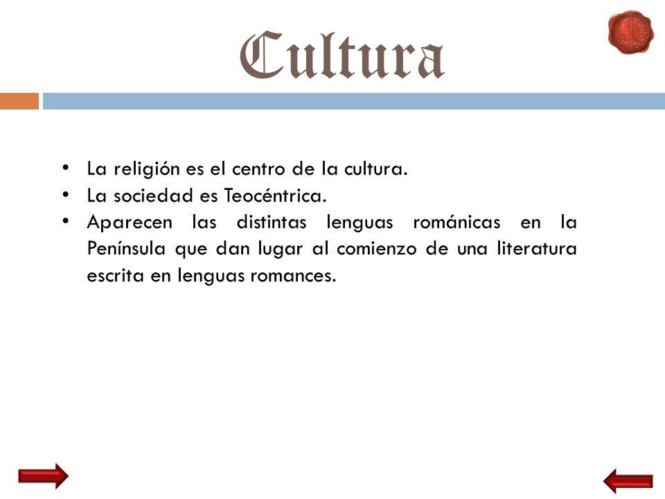 Cultura La religión es el centro de la cultura. La sociedad es Teocéntrica. Aparecen las distintas lenguas románicas en la Península que dan lugar al