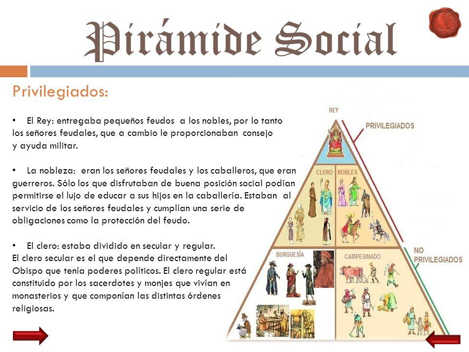 Pirámide Social Privilegiados: El Rey: entregaba pequeños feudos a los nobles, por lo tanto los señores feudales, que a cambio le proporcionaban conse
