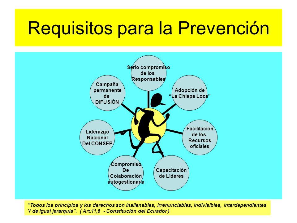 Requisitos para la Prevención Serio compromiso de los Responsables Adopción de La Chispa Loca Facilitación de los Recursos oficiales Capacitación de L