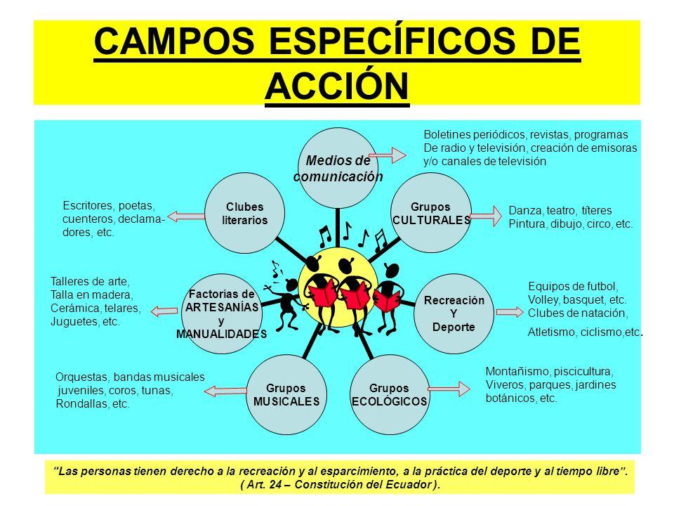 CAMPOS ESPECÍFICOS DE ACCIÓN Medios de comunicación Grupos CULTURALES Recreación Y Deporte Grupos ECOLÓGICOS Grupos MUSICALES Factorías de ARTESANÍAS