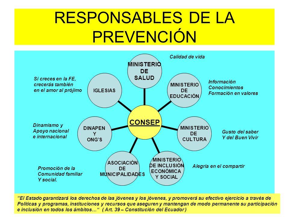 RESPONSABLES DE LA PREVENCIÓN CONSEP MINISTERIO DE SALUD MINISTERIO DE EDUCACIÓN MINISTERIO DE CULTURA MINISTERIO DE INCLUSIÓN ECONÓMICA Y SOCIAL ASOC