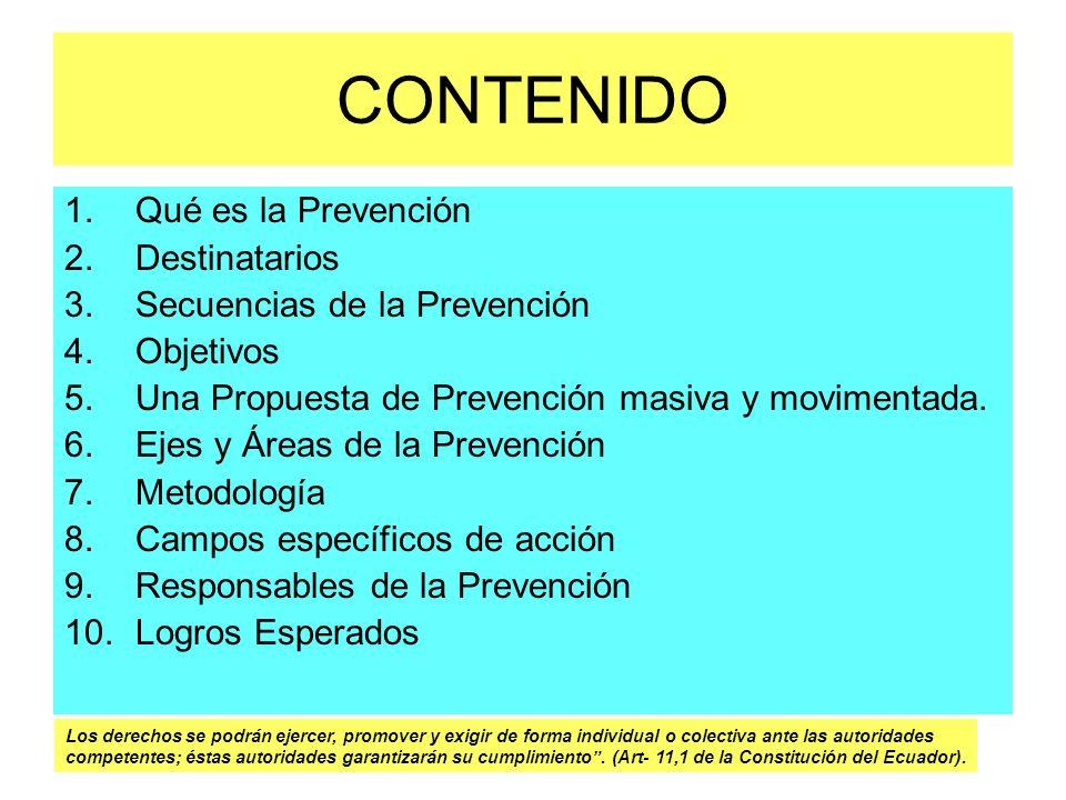 CONTENIDO 1.Qué es la Prevención 2.Destinatarios 3.Secuencias de la Prevención 4.Objetivos 5.Una Propuesta de Prevención masiva y movimentada. 6.Ejes