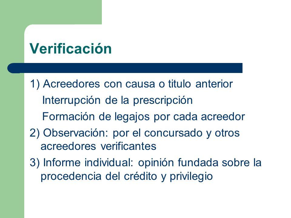 Verificación 1) Acreedores con causa o titulo anterior Interrupción de la prescripción Formación de legajos por cada acreedor 2) Observación: por el c