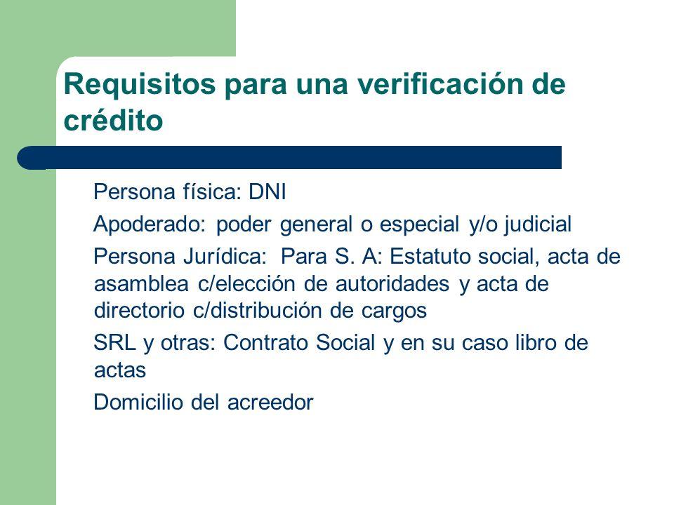 Persona física: DNI Apoderado: poder general o especial y/o judicial Persona Jurídica: Para S. A: Estatuto social, acta de asamblea c/elección de auto