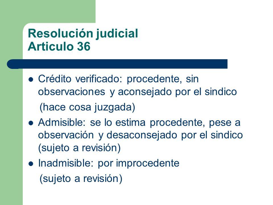 Resolución judicial Articulo 36 Crédito verificado: procedente, sin observaciones y aconsejado por el sindico (hace cosa juzgada) Admisible: se lo est