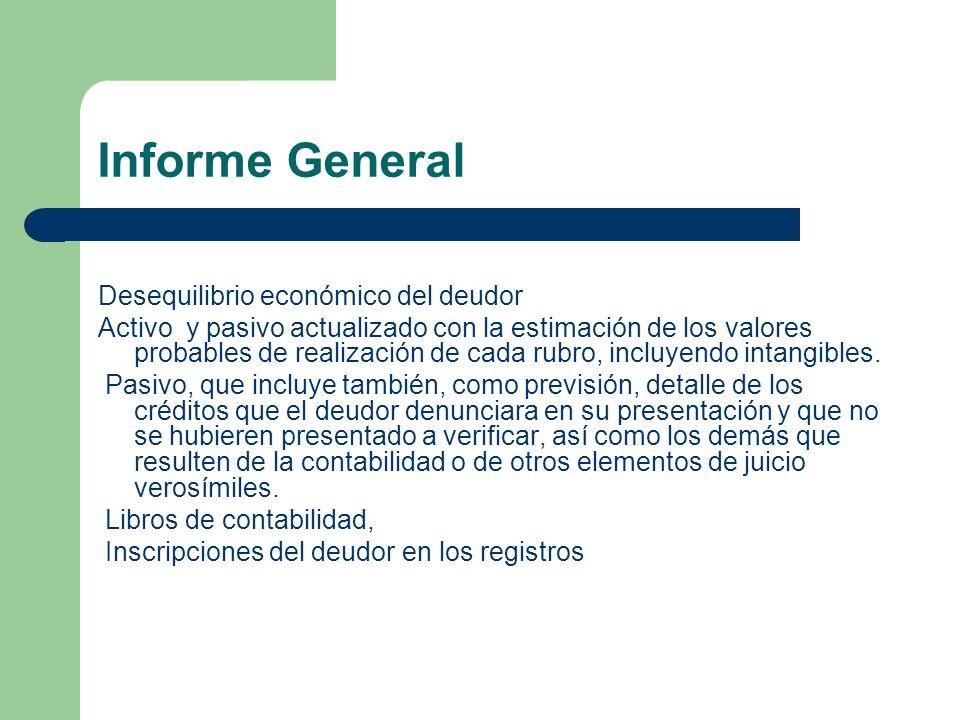 Informe General Desequilibrio económico del deudor Activo y pasivo actualizado con la estimación de los valores probables de realización de cada rubro