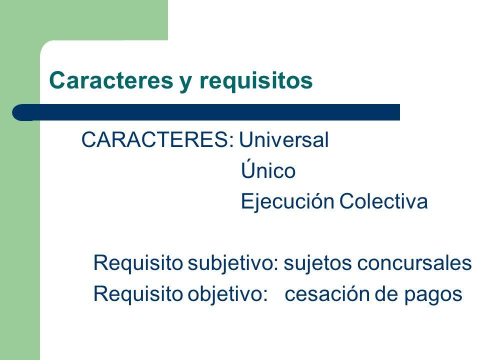 Caracteres y requisitos CARACTERES: Universal Único Ejecución Colectiva Requisito subjetivo: sujetos concursales Requisito objetivo: cesación de pagos