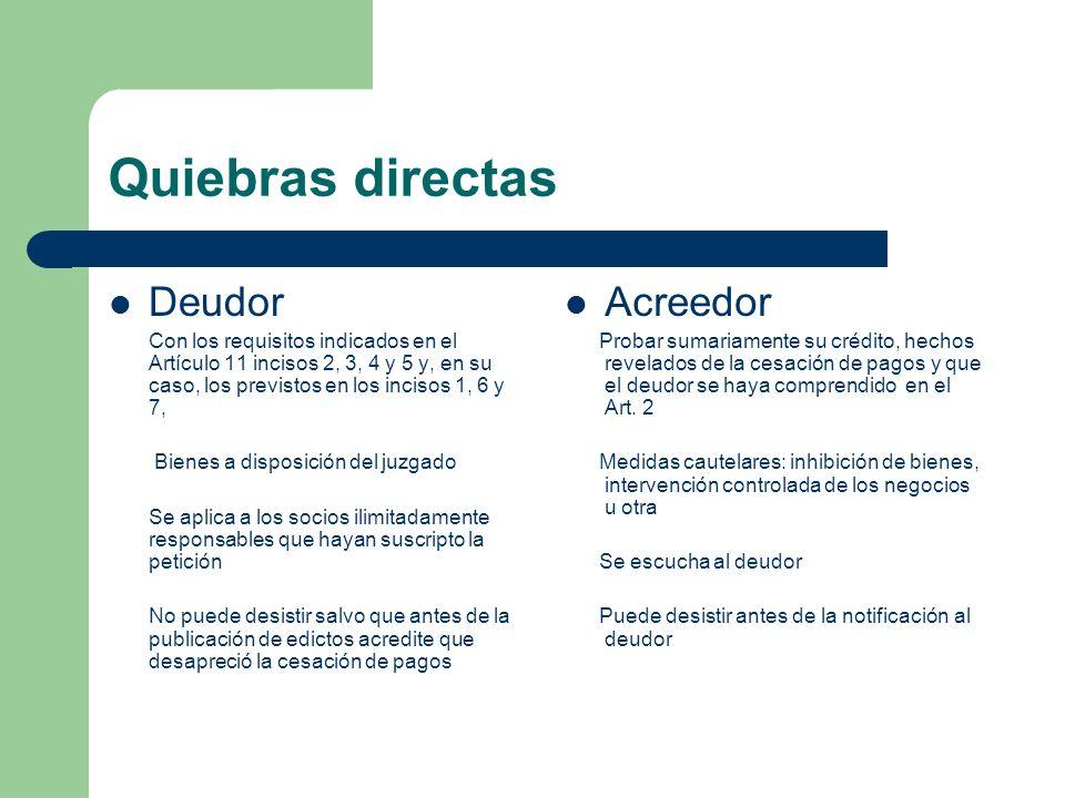 Quiebras directas Deudor Con los requisitos indicados en el Artículo 11 incisos 2, 3, 4 y 5 y, en su caso, los previstos en los incisos 1, 6 y 7, Bien