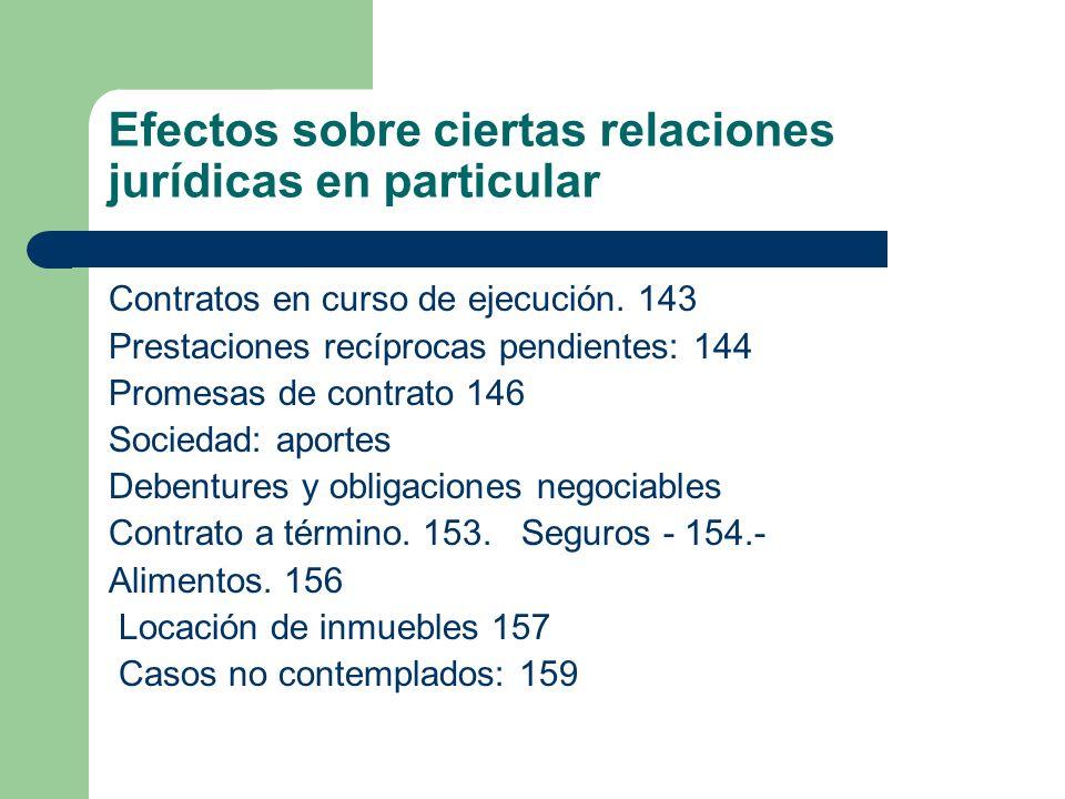 Efectos sobre ciertas relaciones jurídicas en particular Contratos en curso de ejecución. 143 Prestaciones recíprocas pendientes: 144 Promesas de cont