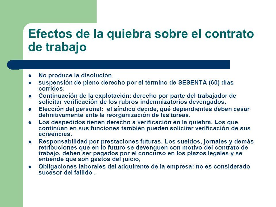 Efectos de la quiebra sobre el contrato de trabajo No produce la disolución suspensión de pleno derecho por el término de SESENTA (60) días corridos.