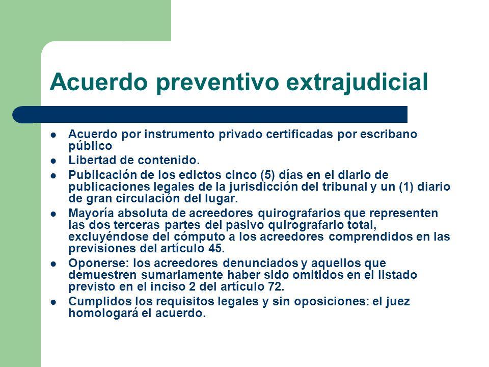 Acuerdo preventivo extrajudicial Acuerdo por instrumento privado certificadas por escribano público Libertad de contenido. Publicación de los edictos