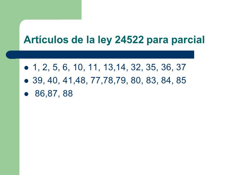 Artículos de la ley 24522 para parcial 1, 2, 5, 6, 10, 11, 13,14, 32, 35, 36, 37 39, 40, 41,48, 77,78,79, 80, 83, 84, 85 86,87, 88