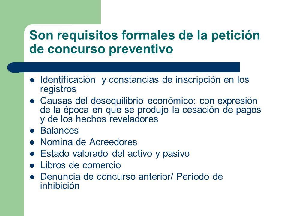 Son requisitos formales de la petición de concurso preventivo Identificación y constancias de inscripción en los registros Causas del desequilibrio ec