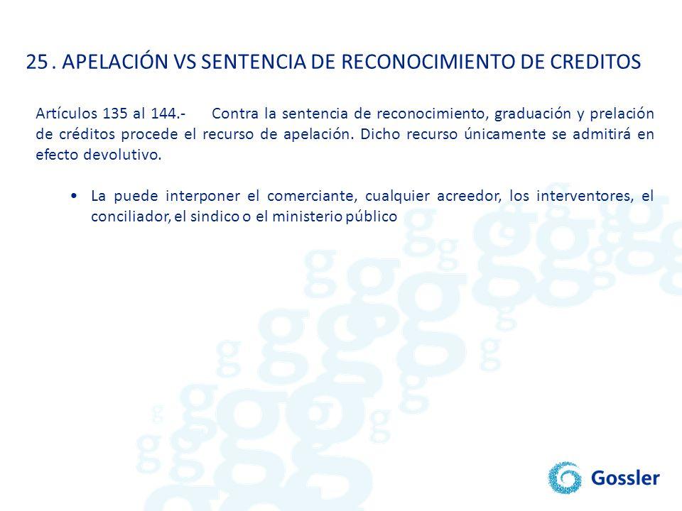25. APELACIÓN VS SENTENCIA DE RECONOCIMIENTO DE CREDITOS Artículos 135 al 144.- Contra la sentencia de reconocimiento, graduación y prelación de crédi