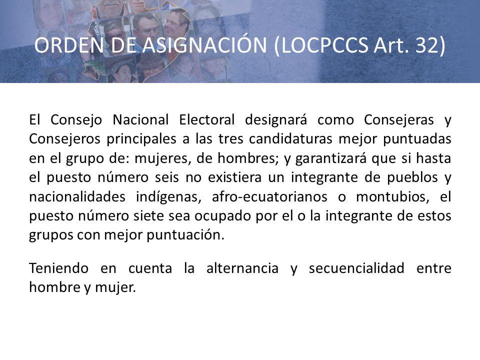 ORDEN DE ASIGNACIÓN (LOCPCCS Art. 32) El Consejo Nacional Electoral designará como Consejeras y Consejeros principales a las tres candidaturas mejor p