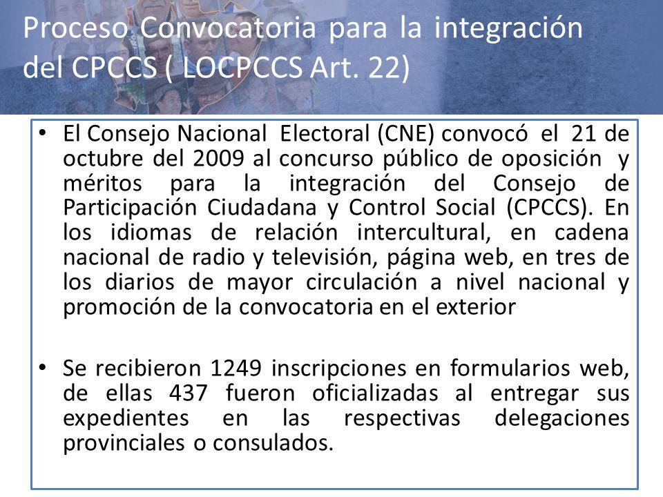 Proceso Convocatoria para la integración del CPCCS ( LOCPCCS Art. 22) El Consejo Nacional Electoral (CNE) convocó el 21 de octubre del 2009 al concurs