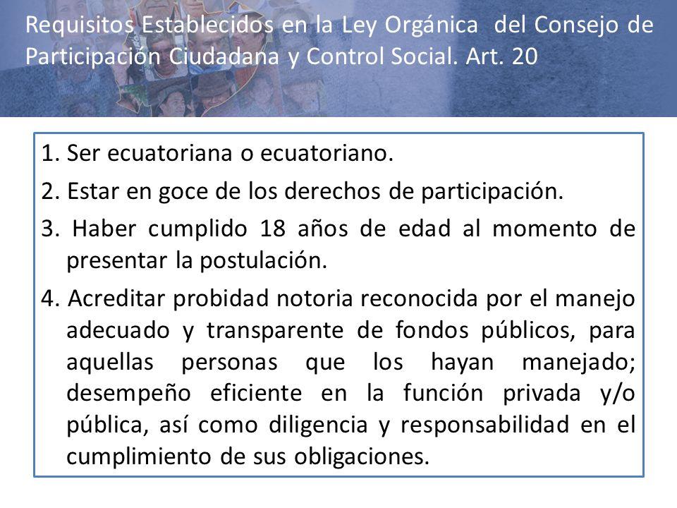 1. Ser ecuatoriana o ecuatoriano. 2. Estar en goce de los derechos de participación. 3. Haber cumplido 18 años de edad al momento de presentar la post