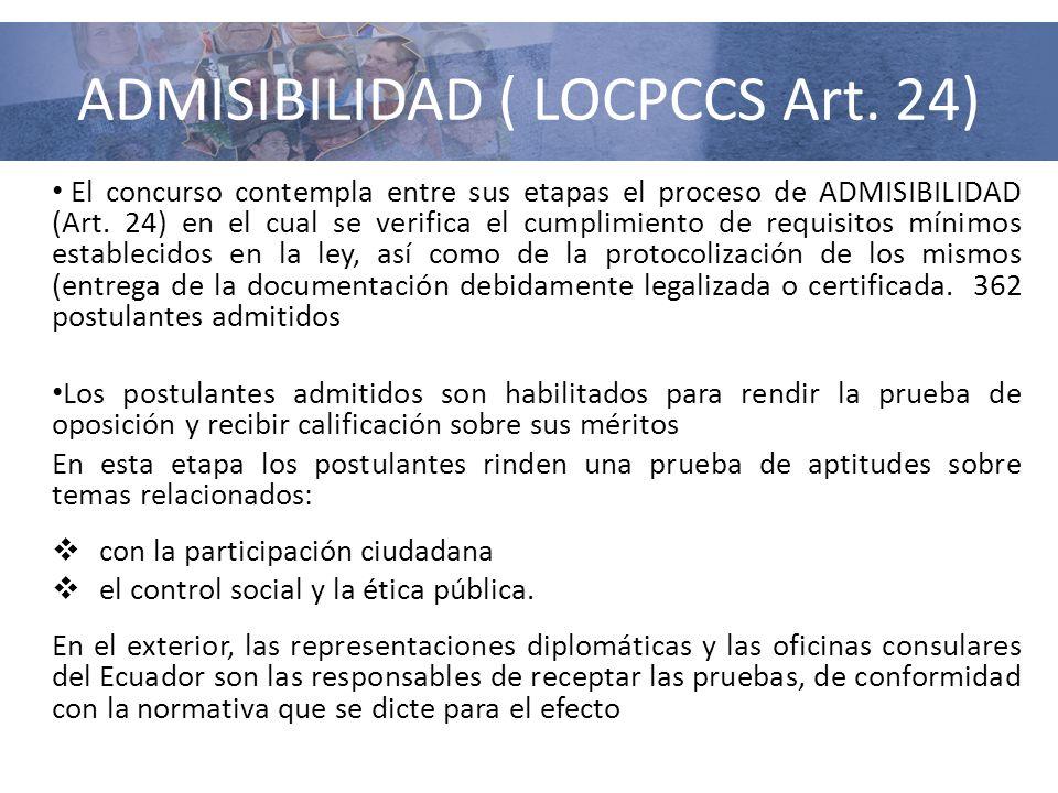 ADMISIBILIDAD ( LOCPCCS Art. 24) El concurso contempla entre sus etapas el proceso de ADMISIBILIDAD (Art. 24) en el cual se verifica el cumplimiento d