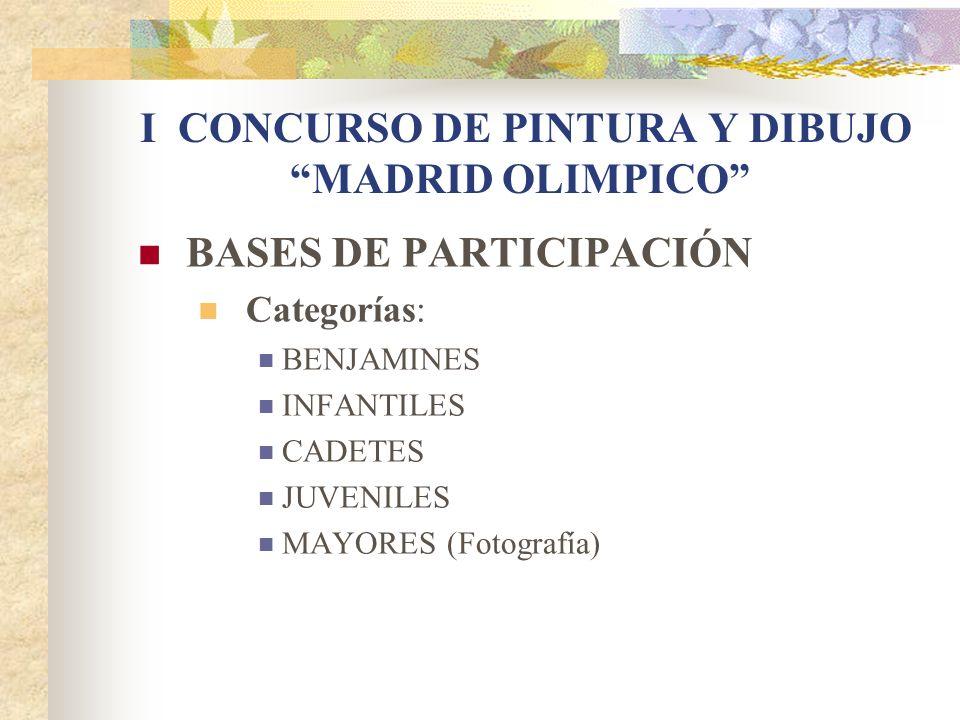 BASES DE PARTICIPACIÓN Categorías: BENJAMINES INFANTILES CADETES JUVENILES MAYORES (Fotografía) I CONCURSO DE PINTURA Y DIBUJO MADRID OLIMPICO