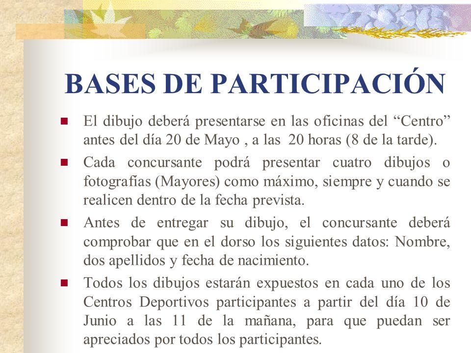 BASES DE PARTICIPACIÓN El dibujo deberá presentarse en las oficinas del Centro antes del día 20 de Mayo, a las 20 horas (8 de la tarde). Cada concursa