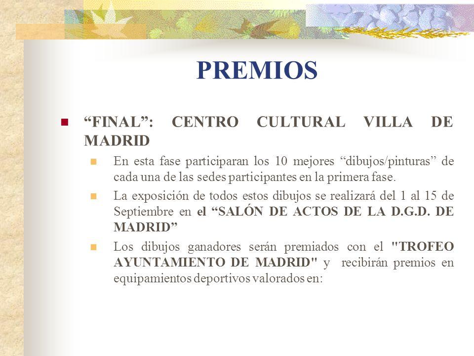 PREMIOS FINAL: CENTRO CULTURAL VILLA DE MADRID En esta fase participaran los 10 mejores dibujos/pinturas de cada una de las sedes participantes en la
