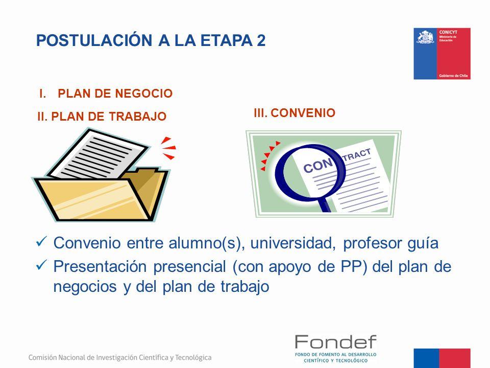 POSTULACIÓN A LA ETAPA 2 Convenio entre alumno(s), universidad, profesor guía Presentación presencial (con apoyo de PP) del plan de negocios y del pla