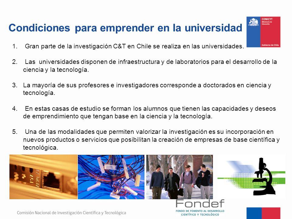 Condiciones para emprender en la universidad 1. Gran parte de la investigación C&T en Chile se realiza en las universidades. 2. Las universidades disp