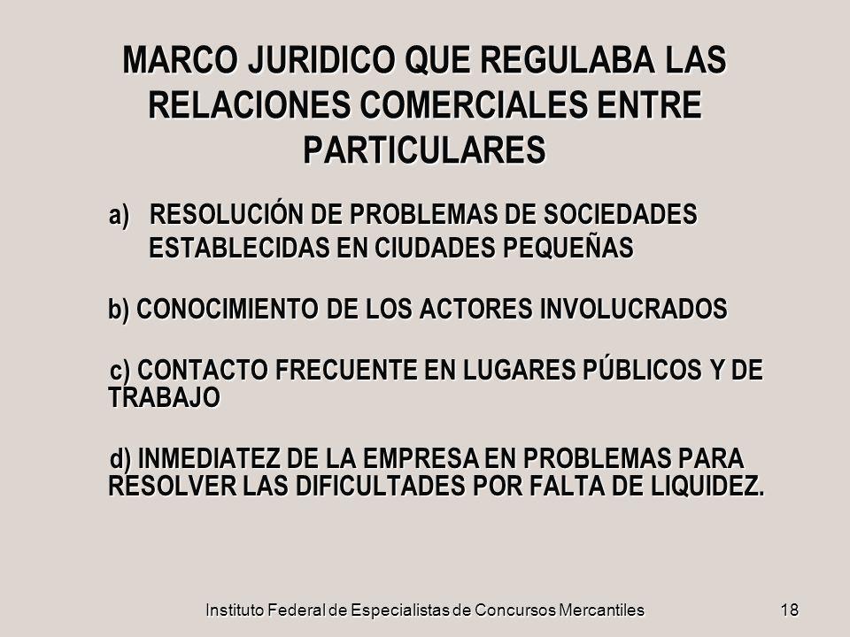 Instituto Federal de Especialistas de Concursos Mercantiles18 MARCO JURIDICO QUE REGULABA LAS RELACIONES COMERCIALES ENTRE PARTICULARES a) RESOLUCIÓN