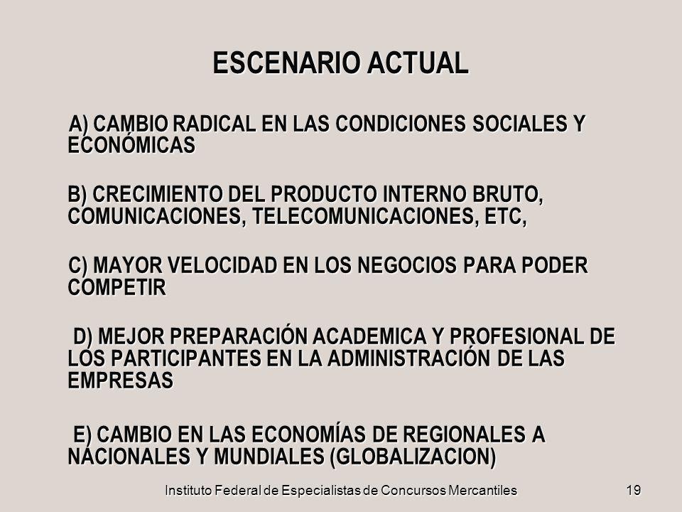 Instituto Federal de Especialistas de Concursos Mercantiles19 ESCENARIO ACTUAL A) CAMBIO RADICAL EN LAS CONDICIONES SOCIALES Y ECONÓMICAS A) CAMBIO RA