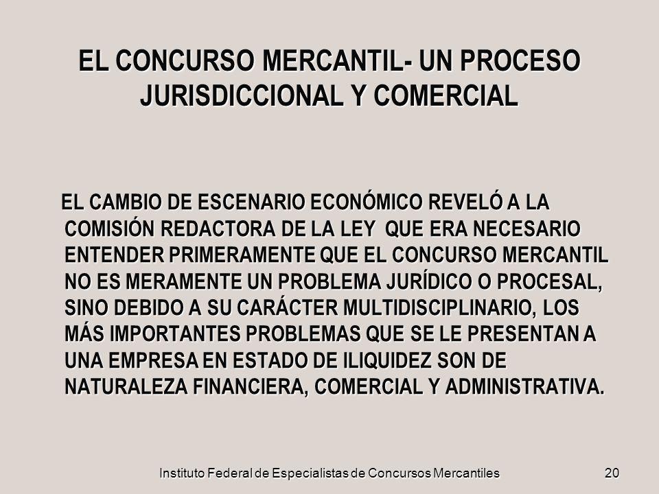 Instituto Federal de Especialistas de Concursos Mercantiles20 EL CONCURSO MERCANTIL- UN PROCESO JURISDICCIONAL Y COMERCIAL EL CAMBIO DE ESCENARIO ECON
