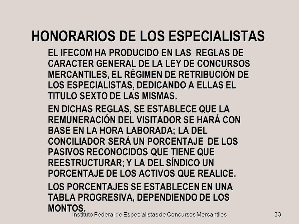 Instituto Federal de Especialistas de Concursos Mercantiles 33 HONORARIOS DE LOS ESPECIALISTAS EL IFECOM HA PRODUCIDO EN LAS REGLAS DE CARACTER GENERA