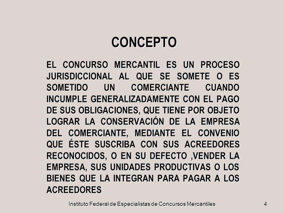 Instituto Federal de Especialistas de Concursos Mercantiles 75 TERMINACIÓN DEL CONCURSO d.CUANDO NO EXISTA MASA NI PARA PAGAR A LOS ACREEDORES PREFERENCIALES e.CUANDO DE COMÚN ACUERDO SOLICITEN SU TERMINACIÓN EL COMERCIANTE Y LOS ACREEDORES RECONOCIDOS, SIN IMPORTAR EL ESTADO DEL PROCEDIMIENTO