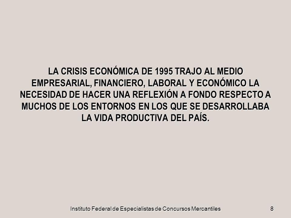 Instituto Federal de Especialistas de Concursos Mercantiles8 LA CRISIS ECONÓMICA DE 1995 TRAJO AL MEDIO EMPRESARIAL, FINANCIERO, LABORAL Y ECONÓMICO L