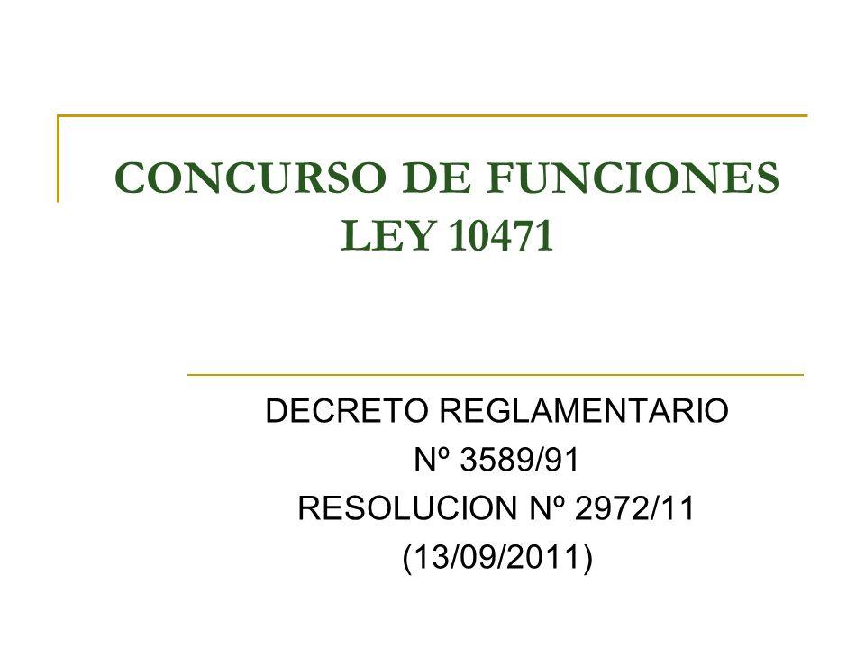 CONCURSO DE FUNCIONES LEY 10471 DECRETO REGLAMENTARIO Nº 3589/91 RESOLUCION Nº 2972/11 (13/09/2011)