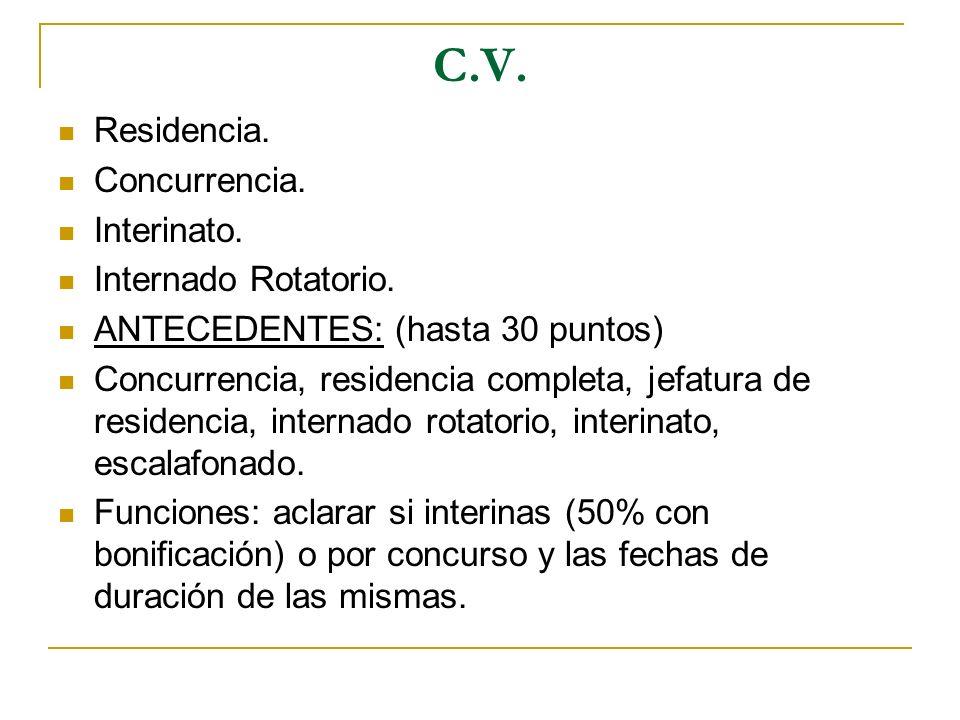 C.V. Residencia. Concurrencia. Interinato. Internado Rotatorio. ANTECEDENTES: (hasta 30 puntos) Concurrencia, residencia completa, jefatura de residen