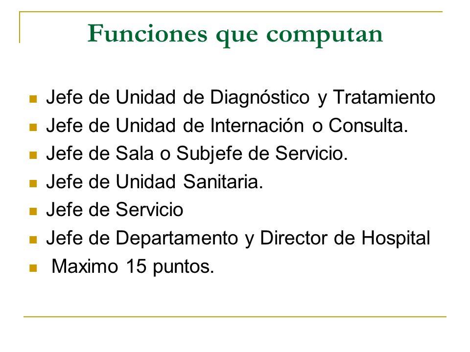 Funciones que computan Jefe de Unidad de Diagnóstico y Tratamiento Jefe de Unidad de Internación o Consulta. Jefe de Sala o Subjefe de Servicio. Jefe