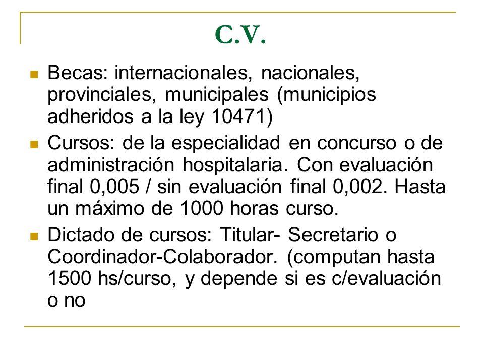 C.V. Becas: internacionales, nacionales, provinciales, municipales (municipios adheridos a la ley 10471) Cursos: de la especialidad en concurso o de a