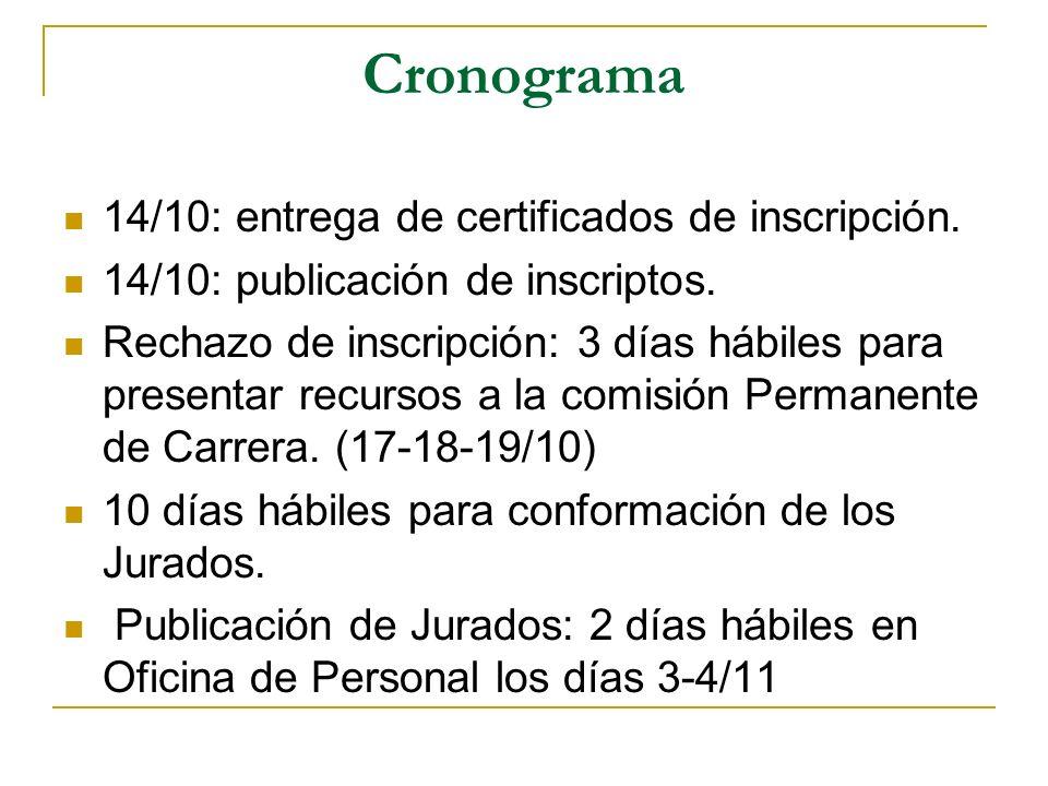 Cronograma 14/10: entrega de certificados de inscripción. 14/10: publicación de inscriptos. Rechazo de inscripción: 3 días hábiles para presentar recu