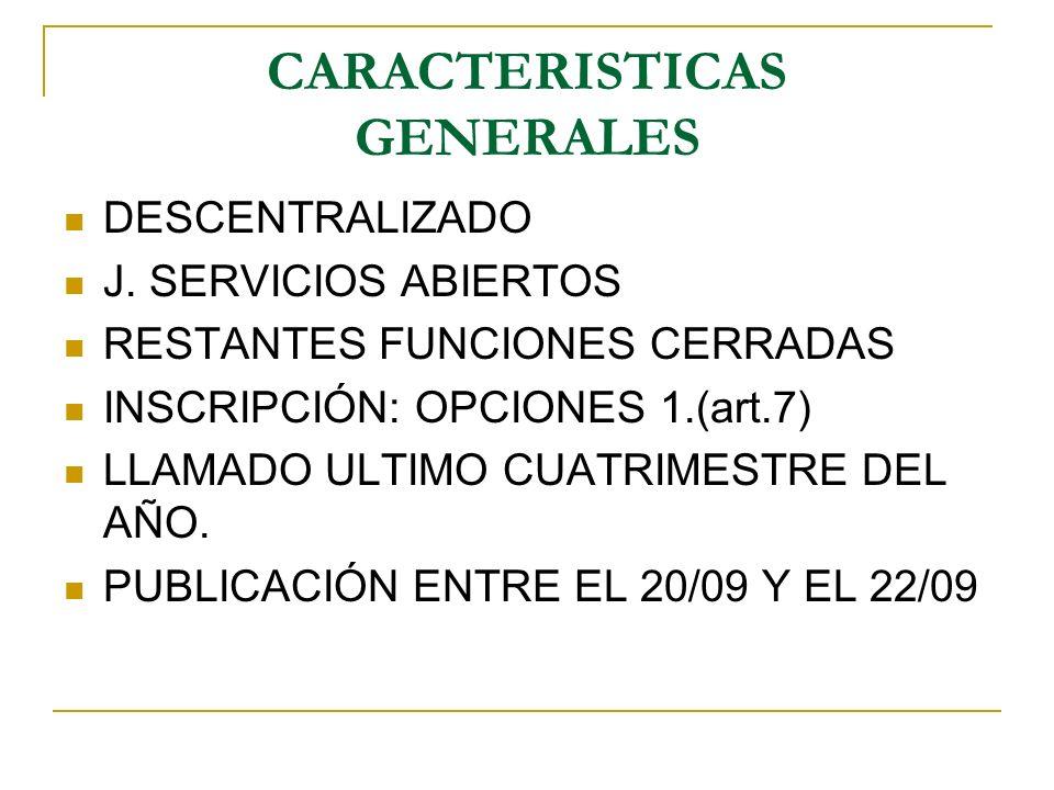 CARACTERISTICAS GENERALES DESCENTRALIZADO J. SERVICIOS ABIERTOS RESTANTES FUNCIONES CERRADAS INSCRIPCIÓN: OPCIONES 1.(art.7) LLAMADO ULTIMO CUATRIMEST