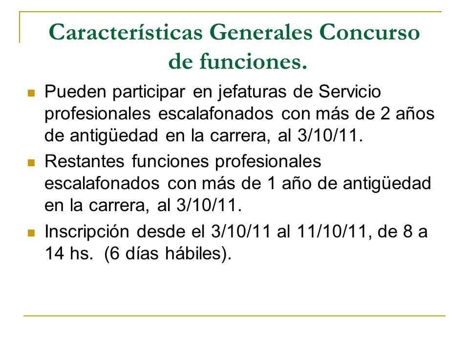 Características Generales Concurso de funciones. Pueden participar en jefaturas de Servicio profesionales escalafonados con más de 2 años de antigüeda
