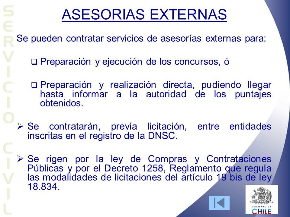 ASESORIAS EXTERNAS Se pueden contratar servicios de asesorías externas para: Preparación y ejecución de los concursos, ó Preparación y realización dir