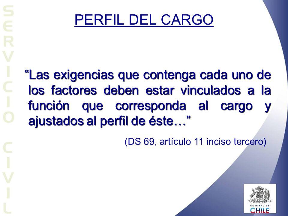 PERFIL DEL CARGO Las exigencias que contenga cada uno de los factores deben estar vinculados a la función que corresponda al cargo y ajustados al perf